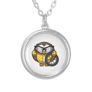 Cyclist Owl Toon Drawing Round Pendant Necklace