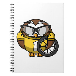 Cyclist Owl Toon Drawing Spiral Notebook