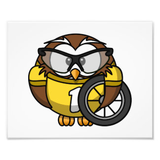 Cyclist Owl Toon Drawing Photo