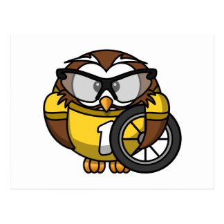 Cyclist Owl Toon Drawing Postcard