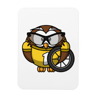 Cyclist Owl Toon Drawing Rectangular Magnet