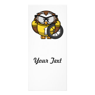 Cyclist Owl Toon Drawing Rack Card