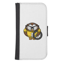 Cyclist Owl Toon Drawing Samsung S4 Wallet Case
