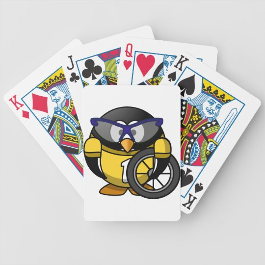 Cyclist penguin bicycle playing cards