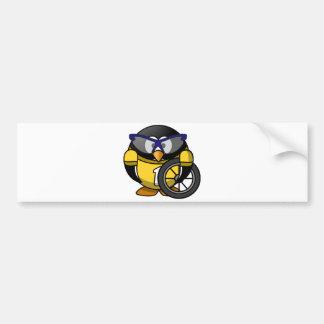 Cyclist penguin car bumper sticker