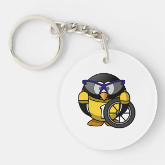 Cyclist Penguin in Yellow Keychain