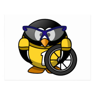 Cyclist Penguin in Yellow Post Cards