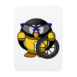 Cyclist Penguin in Yellow Vinyl Magnets