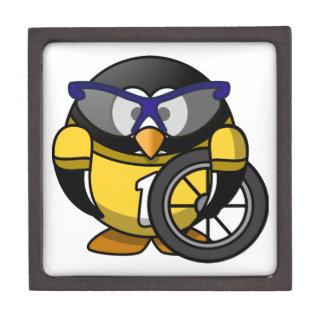 Cyclist penguin keepsake box