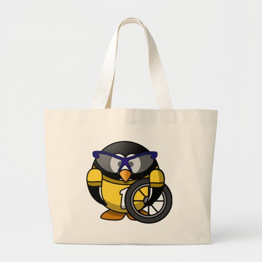 Cyclist penguin large tote bag