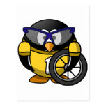 Cyclist penguin post cards