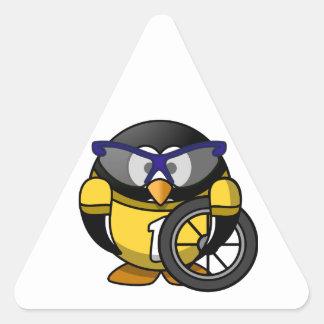 Cyclist penguin triangle sticker