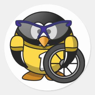 Cyclist penguin sticker