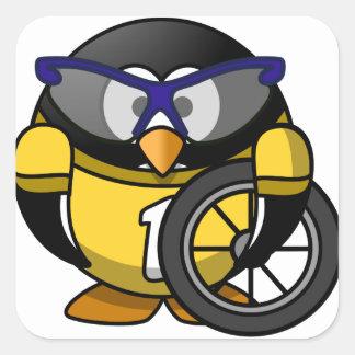 Cyclist penguin square sticker