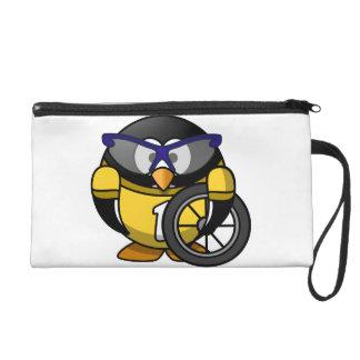 Cyclist penguin wristlet purse