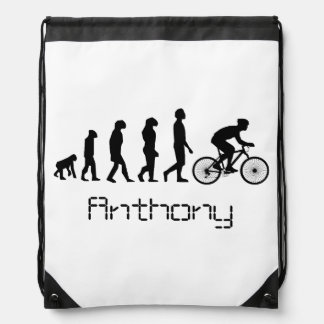 Cyclist personalized drawstring backpack