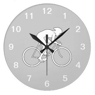 Cyclist Racer. Large Clock
