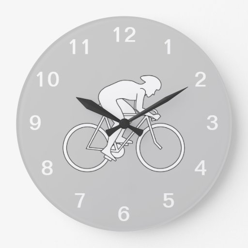 Cyclist Racer. Large Clock