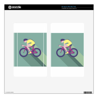 Cyclist racer Vector Skins For Kindle Fire