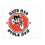 Cyclist racing bike set inside octagon postcards