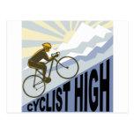 Cyclist racing bike up steep mountain retro style post card