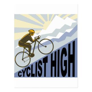 Cyclist racing bike up steep mountain retro style postcard