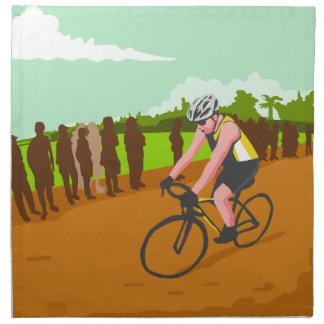 Cyclist Racing WPA Napkin