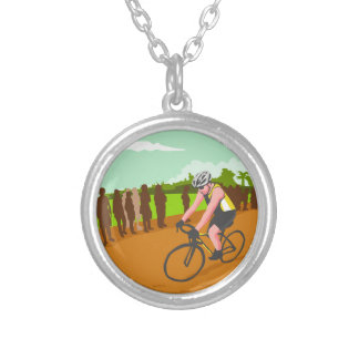 Cyclist Racing WPA Silver Plated Necklace