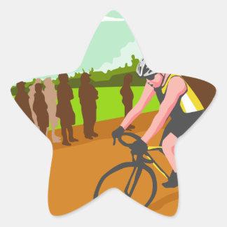 Cyclist Racing WPA Star Sticker