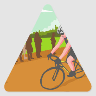 Cyclist Racing WPA Triangle Sticker