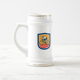 Cyclist Riding Bicycle Cycling Side View Retro Coffee Mug