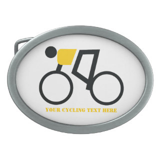 Cyclist riding his bicycle custom belt buckle