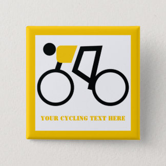 Cyclist riding his bicycle custom button