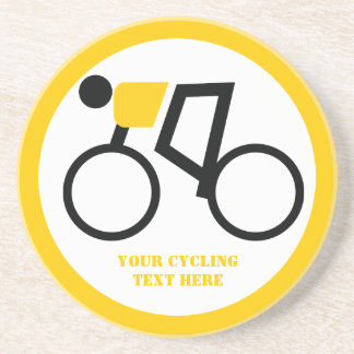 Cyclist riding his bicycle custom beverage coasters