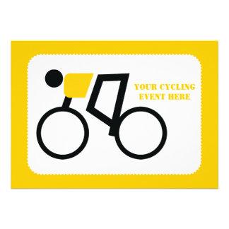 Cyclist riding his bicycle custom invitations