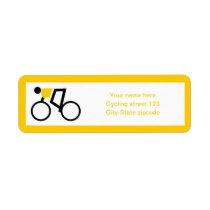 Cyclist riding his bicycle custom label