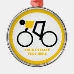 Cyclist riding his bicycle custom metal ornament