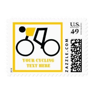 Cyclist riding his bicycle custom postage stamp