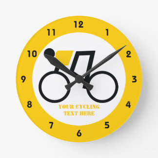Cyclist riding his bicycle custom round clock