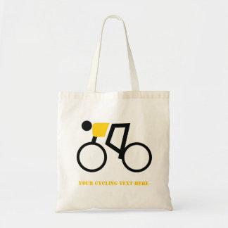 Cyclist riding his bicycle custom tote bag