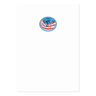 Cyclist Riding Mountain Bike American Flag Oval Business Card Templates