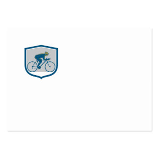Cyclist Riding Mountain Bike Shield Retro Business Card
