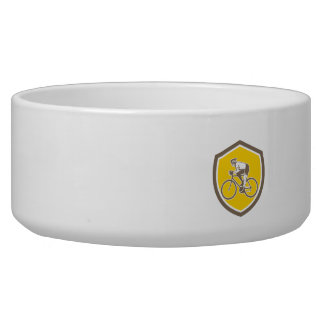 Cyclist Riding Mountain Shield Retro Dog Water Bowl