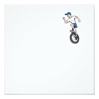 Cyclist Riding Unicycle Cartoon Card