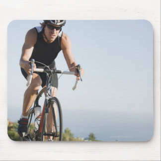 Cyclist road riding in Malibu Mouse Pad
