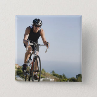 Cyclist road riding in Malibu Pinback Button