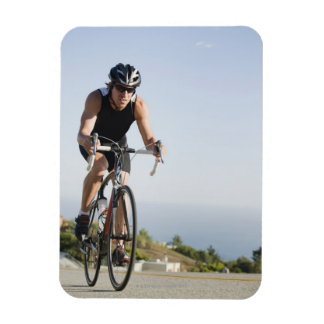 Cyclist road riding in Malibu Rectangular Photo Magnet