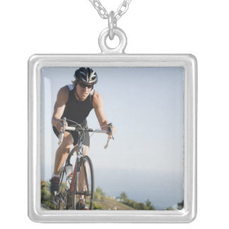 Cyclist road riding in Malibu Silver Plated Necklace