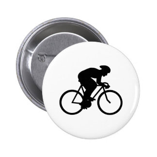 Cyclist Silhouette. 2 Inch Round Button
