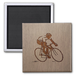 Cyclist silhouette engraved on wood design 2 inch square magnet